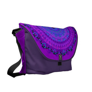 Purple Psyche Mandala kaleidoscope messenger bag L
