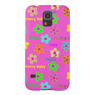 Purple Psychedelic 60s Groovy Flowers Print Galaxy S5 Case