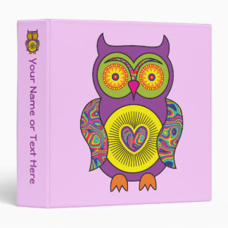 Purple Psychedelic Owl 3 Ring Binder