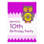 Purple Psychedelic Owl Birthday Personalized Invitations