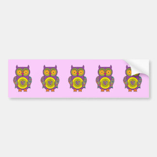 Purple Psychedelic Owl Bumper Sticker