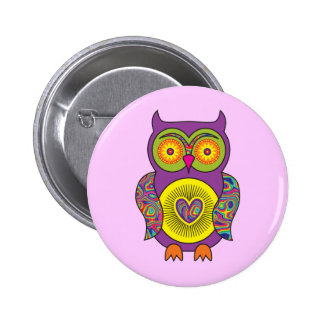 Purple Psychedelic Owl Pinback Buttons