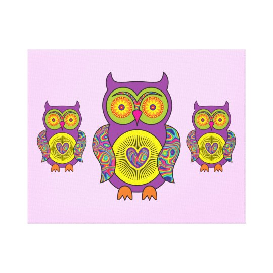 Purple Psychedelic Owl Canvas Print