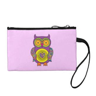Purple Psychedelic Owl Change Purse