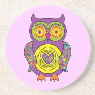 Purple Psychedelic Owl Coaster