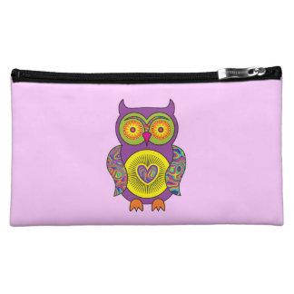 Purple Psychedelic Owl Cosmetic Bag