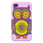 Purple Psychedelic Owl Covers For iPhone 4