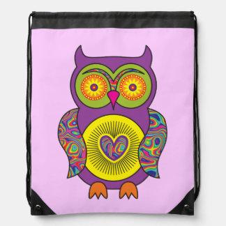 Purple Psychedelic Owl Drawstring Bag