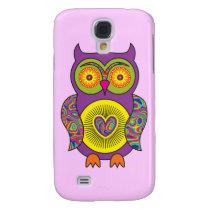 Purple Psychedelic Owl Galaxy S4 Case