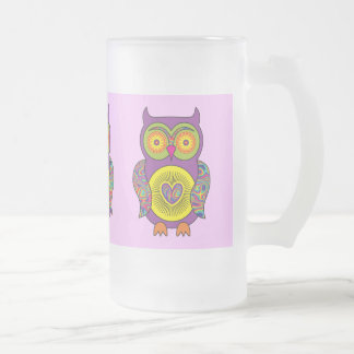 Purple Psychedelic Owl Glass Frosted Glass Beer Mug