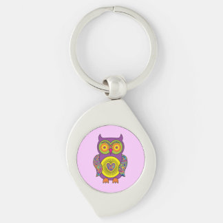 Purple Psychedelic Owl Keychain