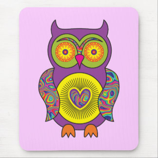Purple Psychedelic Owl Mouse Pad