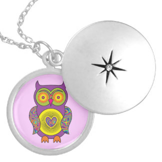 Purple Psychedelic Owl Round Locket Necklace