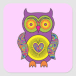 Purple Psychedelic Owl Square Sticker