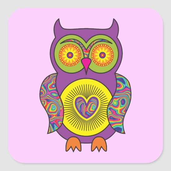 Purple Psychedelic Owl Square Sticker
