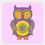 Purple Psychedelic Owl Sticker
