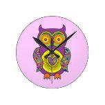 Purple Psychedelic Owl Wall Clocks