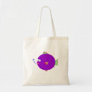 Purple Puffer Fish Budget Tote Bag