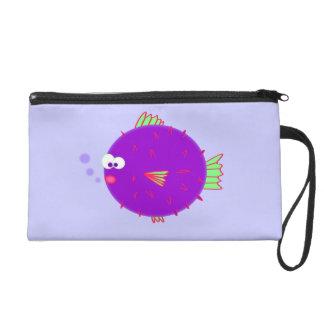 Purple Puffer Fish Wristlet Clutches
