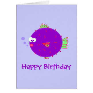 Purple Puffer Fish Card