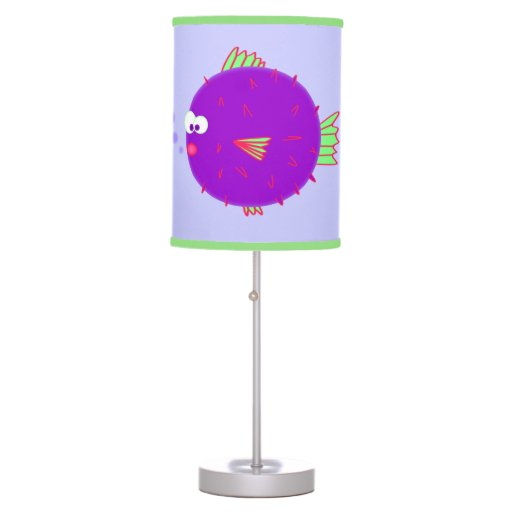 Purple puffer fish desk lamp zazzle for Puffer fish lamp