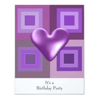 Purple Puffy Heart Birthday Invitation