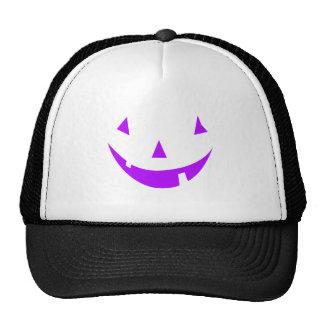 Purple Pumpkin Face Mesh Hat