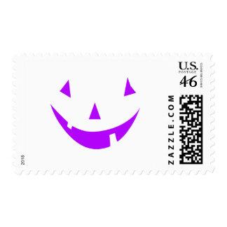 Purple Pumpkin Face Postage Stamp