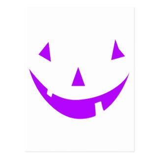 Purple Pumpkin Face Postcard