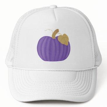 Halloween Themed Purple Pumpkin Gold Leaf Hat
