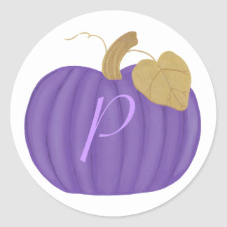 Purple Pumpkin Monogram Wedding Seals Classic Round Sticker