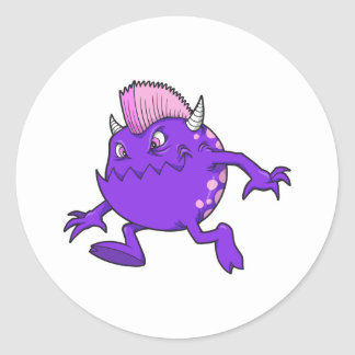 purple punk devil mohawk monster classic round sticker