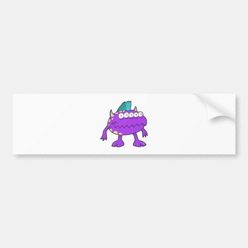 purple punk mohawk monster many eyes car bumper sticker