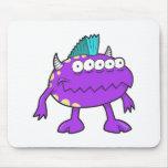 purple punk mohawk monster many eyes mouse pad