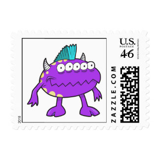 purple punk mohawk monster many eyes stamp