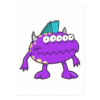 purple punk mohawk monster many eyes post cards