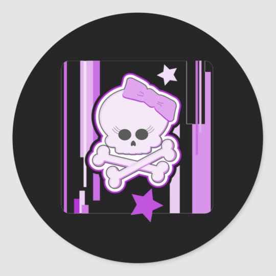 Purple Punk Skull Stickers