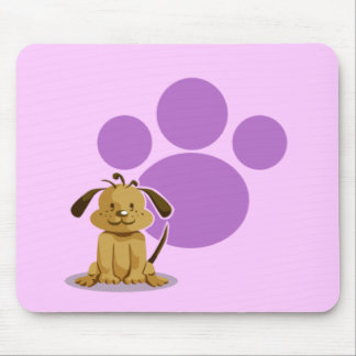 Purple Puppy Paw Mouse Pad
