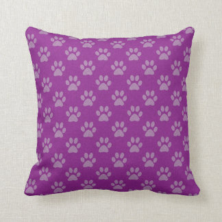 Purple puppy paw prints throw cushion