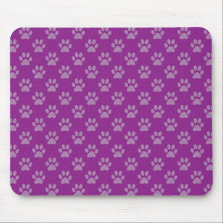 Purple puppy paws pattern mouse pad