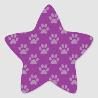 Purple puppy paws pattern star sticker