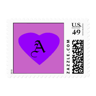 Purple - Purple Heart Letter A The MUSEUM Zazzle Postage