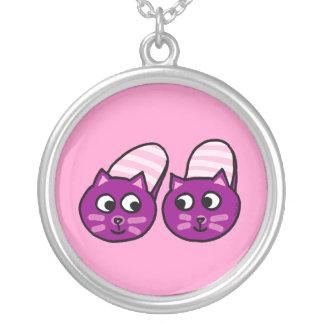 Purple pussycat slippers round pendant necklace