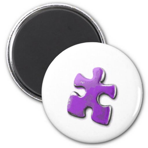 Purple Puzzle! A design also for Autism Awareness 2 Inch Round Magnet