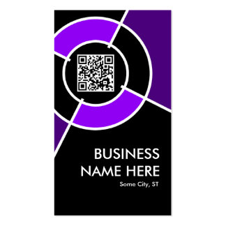 purple QR code and logo target Double-Sided Standard Business Cards (Pack Of 100)