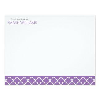Purple Quatrefoil Flat Thank You Notes Card