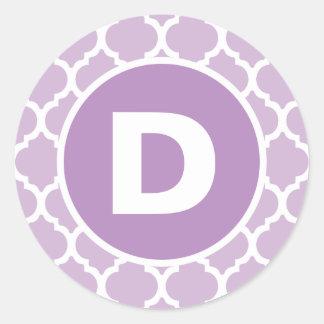 Purple Quatrefoil Monogram Classic Round Sticker
