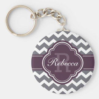 Purple Quatrefoil Monogram Gray Chevron Pattern Keychain