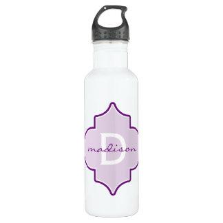 Purple Quatrefoil Monogram 24oz Water Bottle