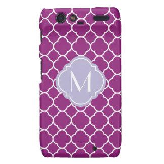 Purple Quatrefoil Pattern with Monogram Motorola Droid RAZR Case